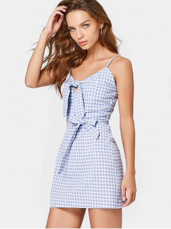 Belted Checked Bow Tied Mini Dress