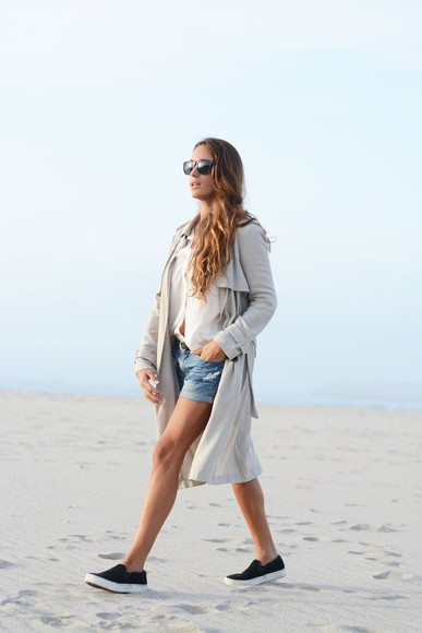 vans stella wants to die blogger denim trench coat sunglasses ripped shorts