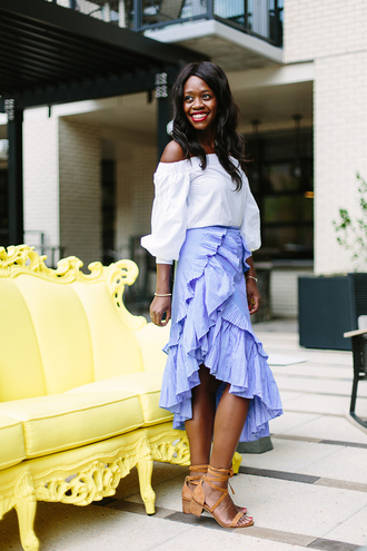 top skirt tumblr white top off the shoulder off the shoulder top midi skirt asymmetrical asymmetric shirt wrap ruffle skirt ruffle wrap skirt sandals mid heel sandals shoes