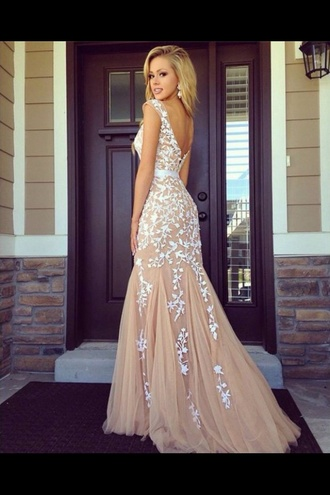 beige dress prom gown prom dress lace dress white dress