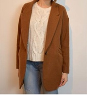 coat,camel boyfriend coat