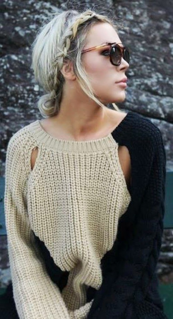 sweater oversized sweater fall sweater color block sweater cut out sweater two coloured knitted sweater clothes