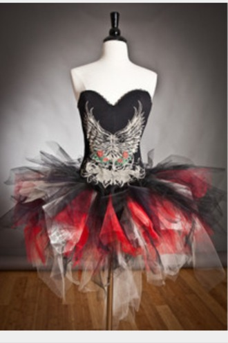 dress tulle skirt red white black punk corset skull wings party rock
