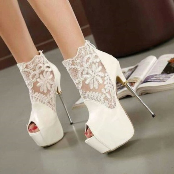 Shoes: white, boots, ankle boots, heels, high, high heels, sandals ...