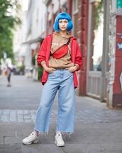 jeans,flare jeans,sneakers,white sneakers,sportswear,belt bag,jacket