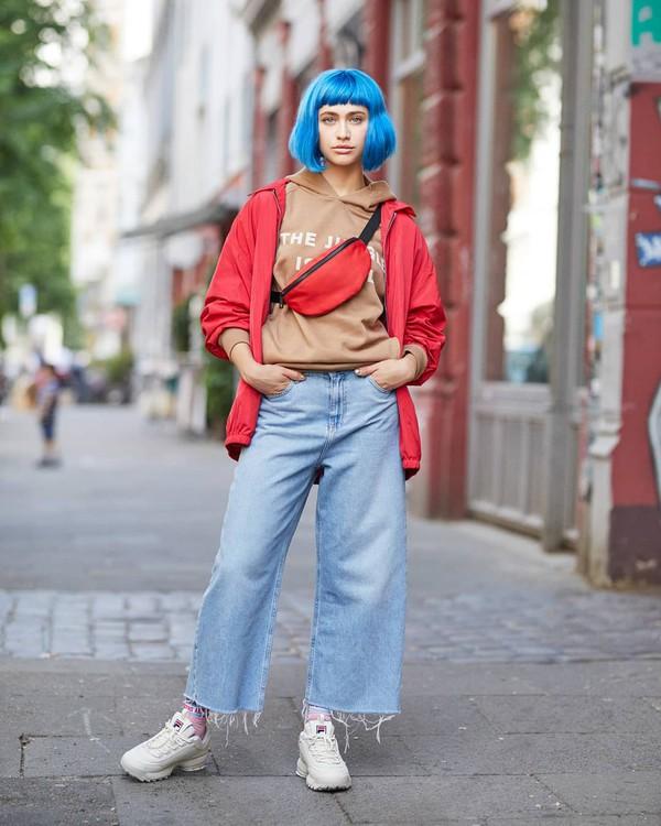 jeans flare jeans sneakers white sneakers sportswear belt bag jacket