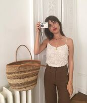 top,brown pants,jeanne damas,fashionista,spaghetti strap,summer top,lace top,white top,pants,bag,straw bag