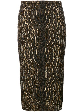 skirt metallic animal pattern black