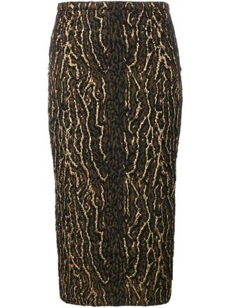 skirt metallic animal pattern black