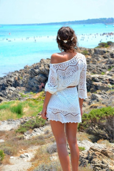 crochet dress bohemian littlewhitedress beachy