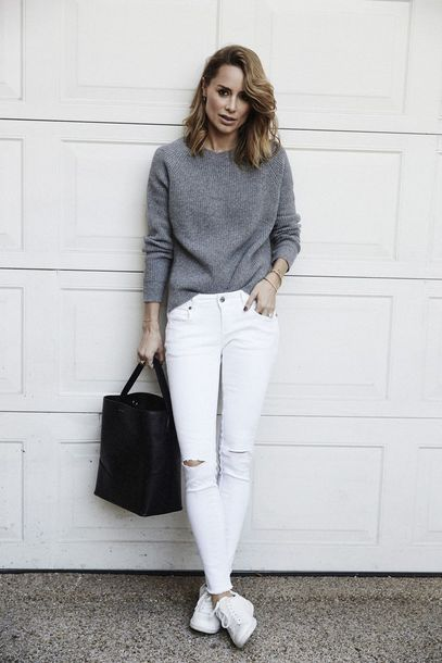 jeans grey sweater white distressed jeans black bag white sneakers blogger