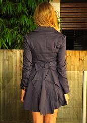 coat,clothes,bow,ribbon,jacket,blue,grey,tight,trench coat