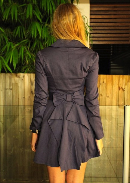 coat clothes bow ribbon jacket blue grey grey tight trench coat trench coat