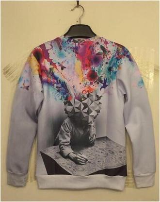 rainbow crewneck sweater grey sweater grey birds printed sweater