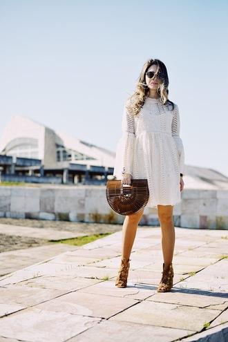 bag dress white dress boho dress mini dress sandals sunglasses