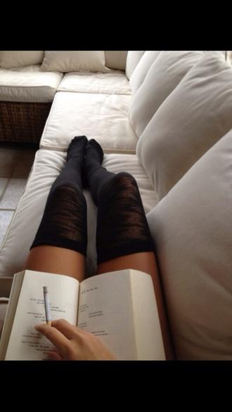 underwear knee high socks long socks streetwear grey socks black overknees overknee socks kneehighsocks high socks legs tumblr book tumblr outfit tumblr clothes kneehigh socks