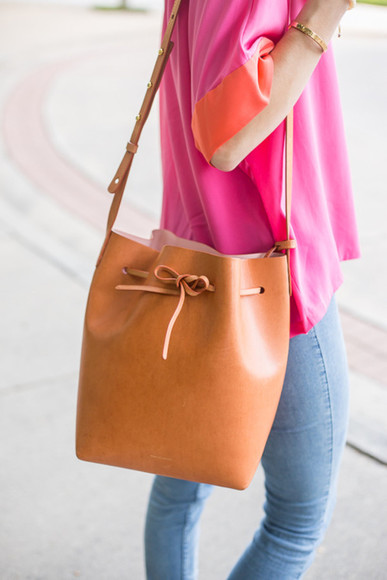 bag leather bag brown bag bucket bag
