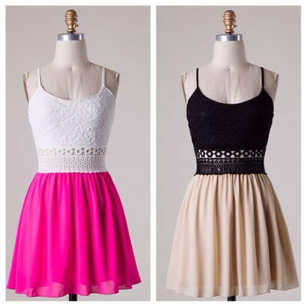 dress white and pink dress