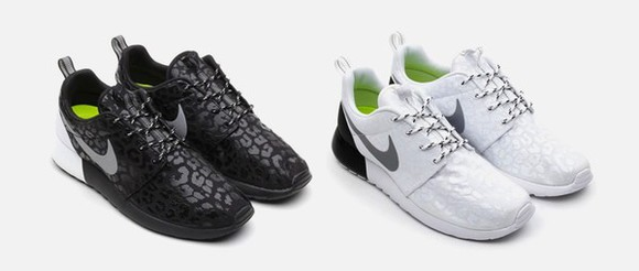 shoes sneakers white nike nike roshe run leopard print black