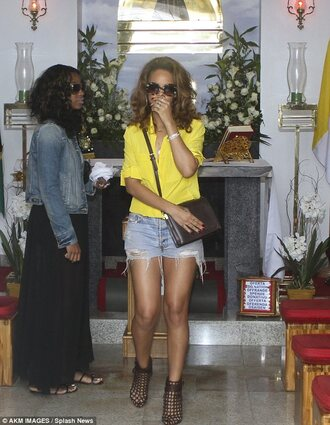 blouse yellow top rihanna summer shoes