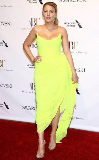 dress yellow yellow dress neon sandals blake lively gown bustier bustier dress shoes