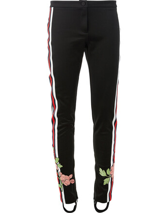 embroidered women floral cotton black pants