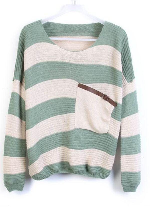 sweater stripes leather green white