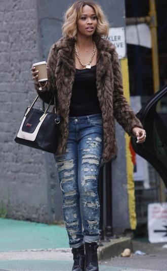 bag jeans fur coat boot heels jacket jeans shoes