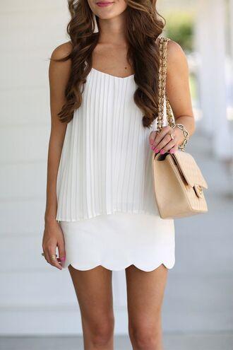 skirt scalloped skirt white skirt scalloped mini skirt top white top pleated top bag nude bag summer outfits