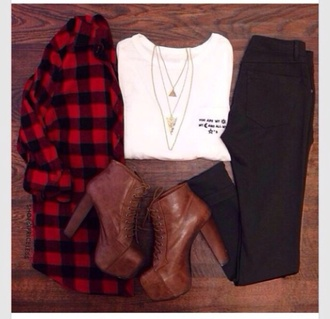 white black grunge flannel shirt style red boots shoes necklace gold platform lace up boots pants