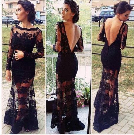 Cute lace long black dress