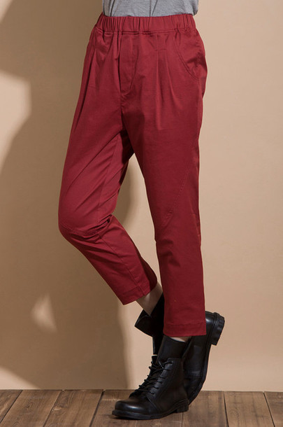 pants cotton pants red  harem pants harem pants