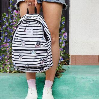 bag yeah bunny backpack cute travel dog stripes