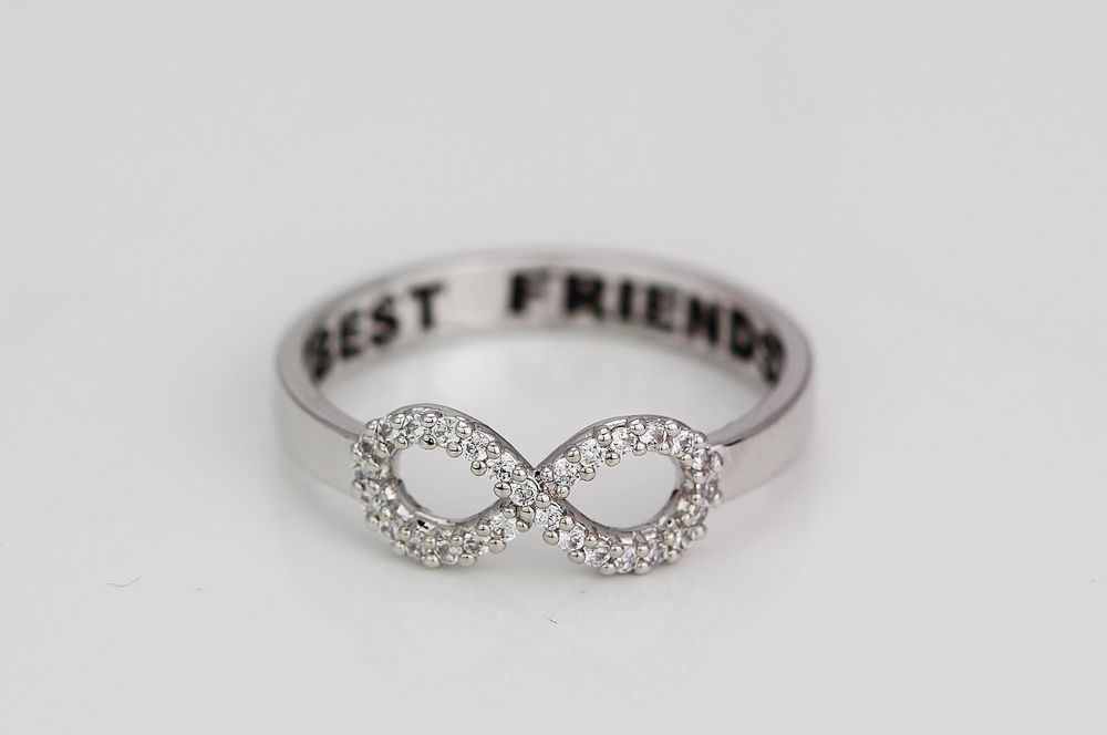 Crystal letter best friends engraved friendship infinity ring women jewelry