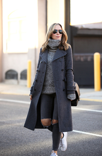 brooklyn blonde blogger turtleneck grey sweater grey coat charcoal ripped jeans