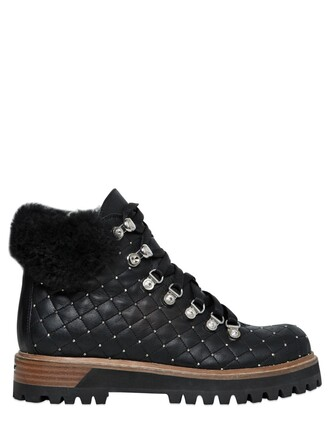 quilted boots leather boots leather black shoes