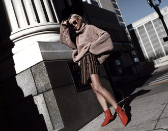 happily grey blogger skirt shoes sweater oversized sweater ankle boots red boots