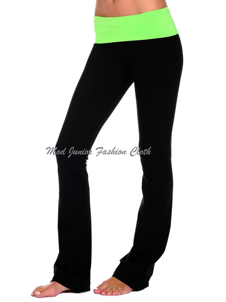 SMALL NEON GREEN FOLD OVER WAIST COMFY SOFT BLACK YOGA/ATHLETIC/GYM FLARED PANTS