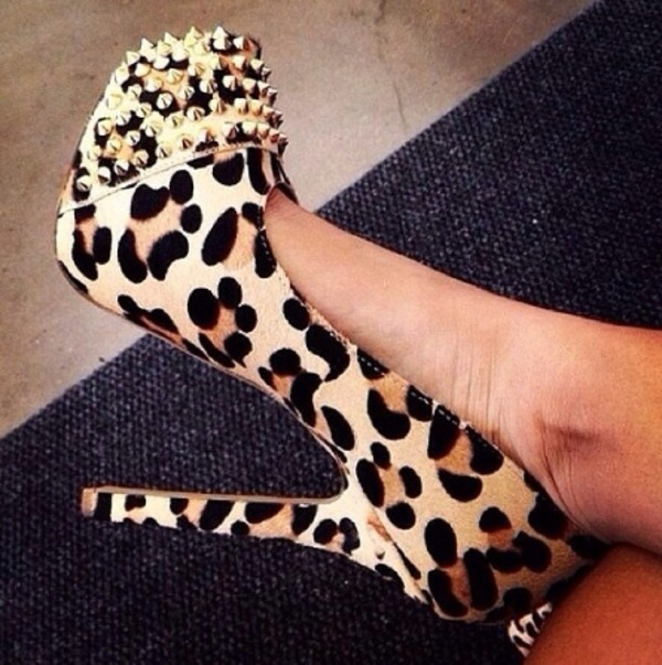shoes leopard print leopard shoes spikes fashion sexy
