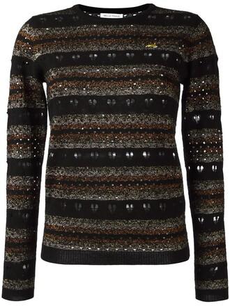 jumper metallic women love lace black wool sweater
