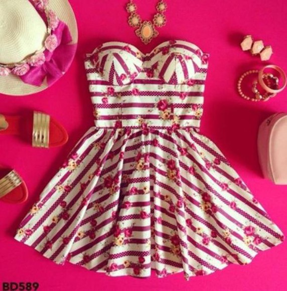 striped dress floraldress