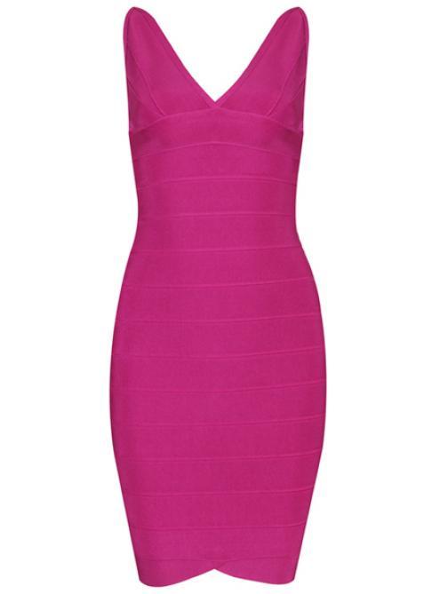 Rose Red Double Deep V Scoopneck Tank Bandage Dress H022$99