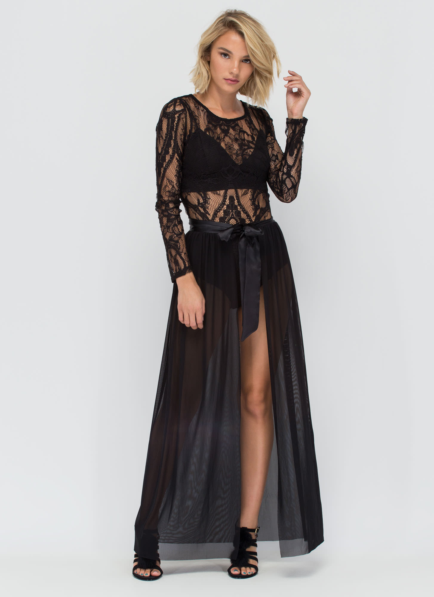 Sheer Us Out Maxi Skirt WINE MAUVE BLACK WHITE - GoJane.com