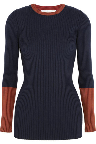Victoria Beckham - Two-tone Ribbed Wool-blend Sweater - Navy