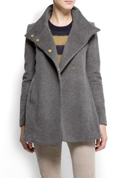 mango a line wool coat grey coat swing coat winter coat