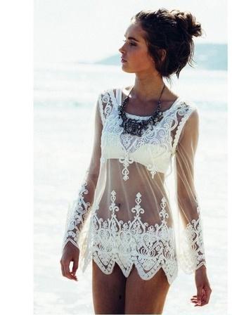 dress white summer dress summer blouse summer mint bikini strapless top beachwear pool