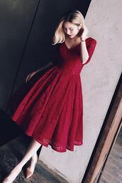 dress,prom dresses short description dresses,dark red,bandage,knee-length,v-neck scoop,aline,lace up,half sleeve
