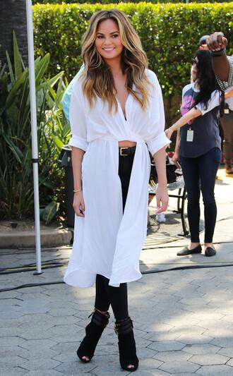 blouse top shirt chrissy teigen booties shoes