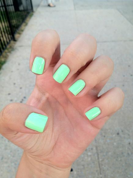 bright nail polish neon green neon green nail polish manicure color colorful hands swimwear bright colored nail polish teal seafoam green gorgeous nail color neon nail polish beauty