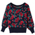 ROMWE | Red Roses Main Blue Jumper, The Latest Street Fashion